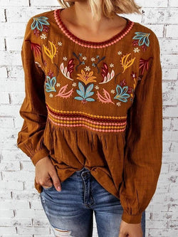 Embroidery Round Neck Standard Long Sleeve Blouse
