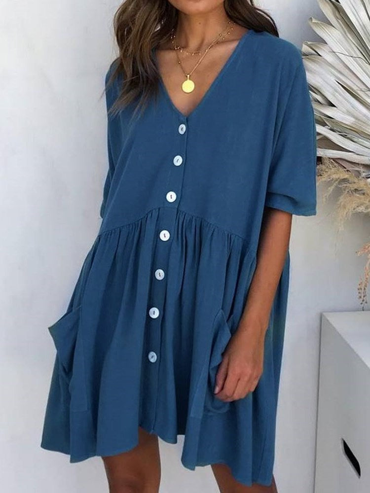 Pocket V-Neck Above Knee Single-Breasted Date Night/Going Out Dress