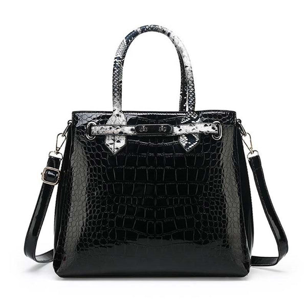 Alligator PU Lock Square Tote Bags