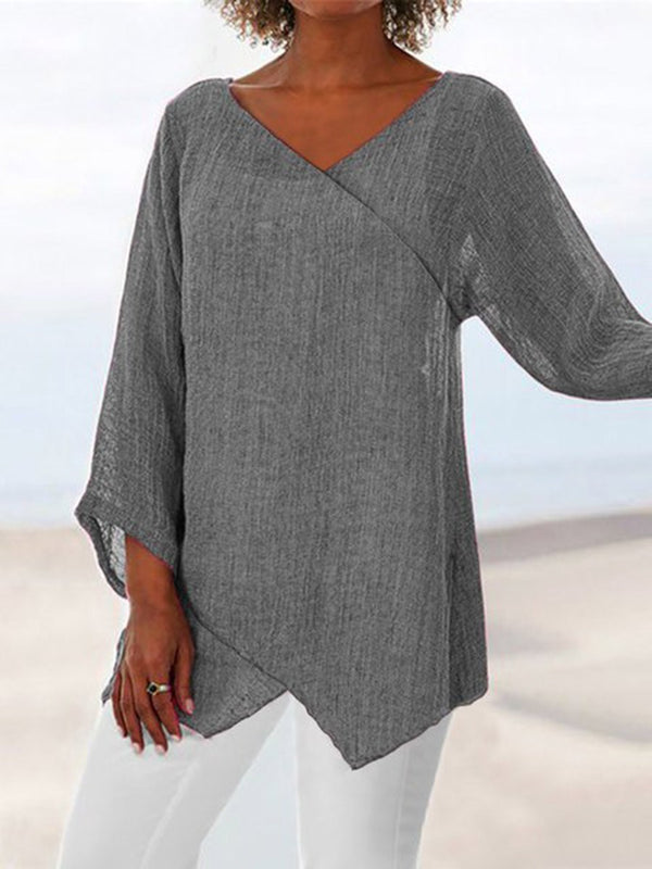 V-Neck Asymmetric Plain Mid-Length Long Sleeve Blouse