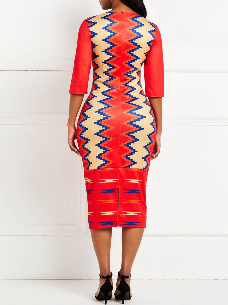 Mid-Calf Round Neck Print Color Block Bodycon Dress