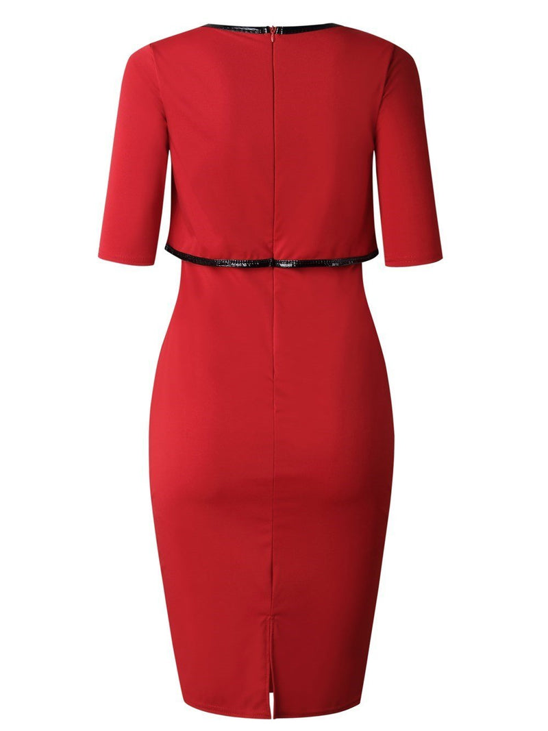 Half Sleeve Round Neck Knee-Length Wear to Work/Workwear Plain Dress