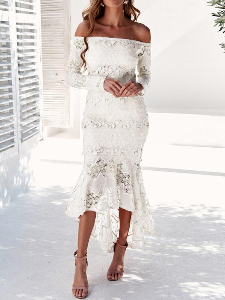Asymmetric Off Shoulder Long Sleeve Mermaid Cold Shoulder Dress