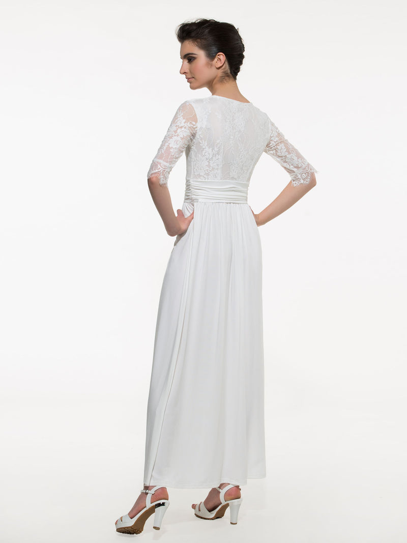 Floor-Length Three-Quarter Sleeve Summer Agraffe Dress