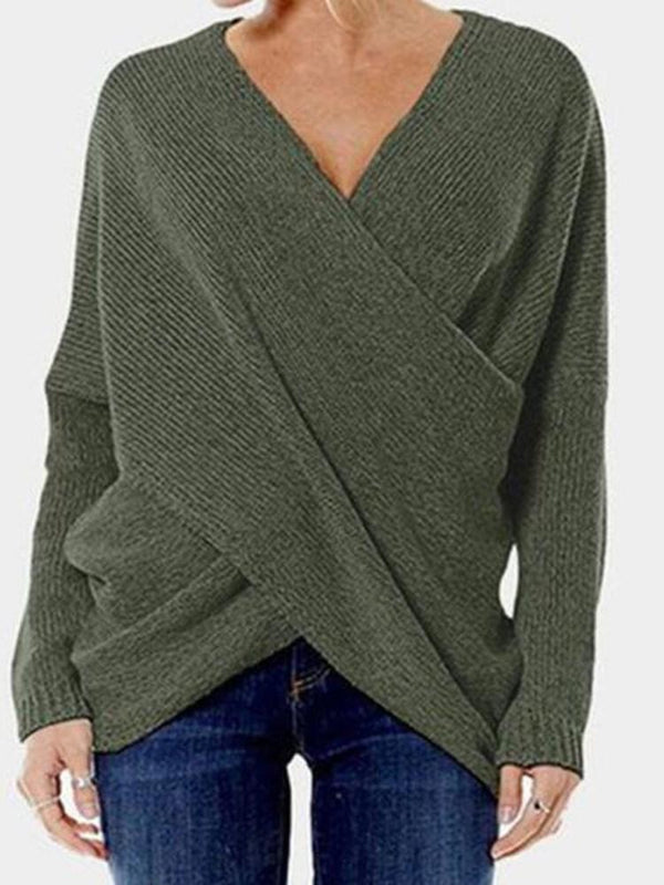 Asymmetric V-Neck Slim Sweater