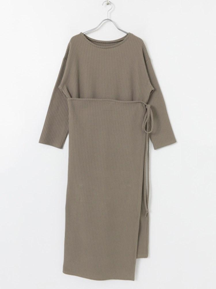 Lace-Up Round Neck Ankle-Length Plain Pullover Dress