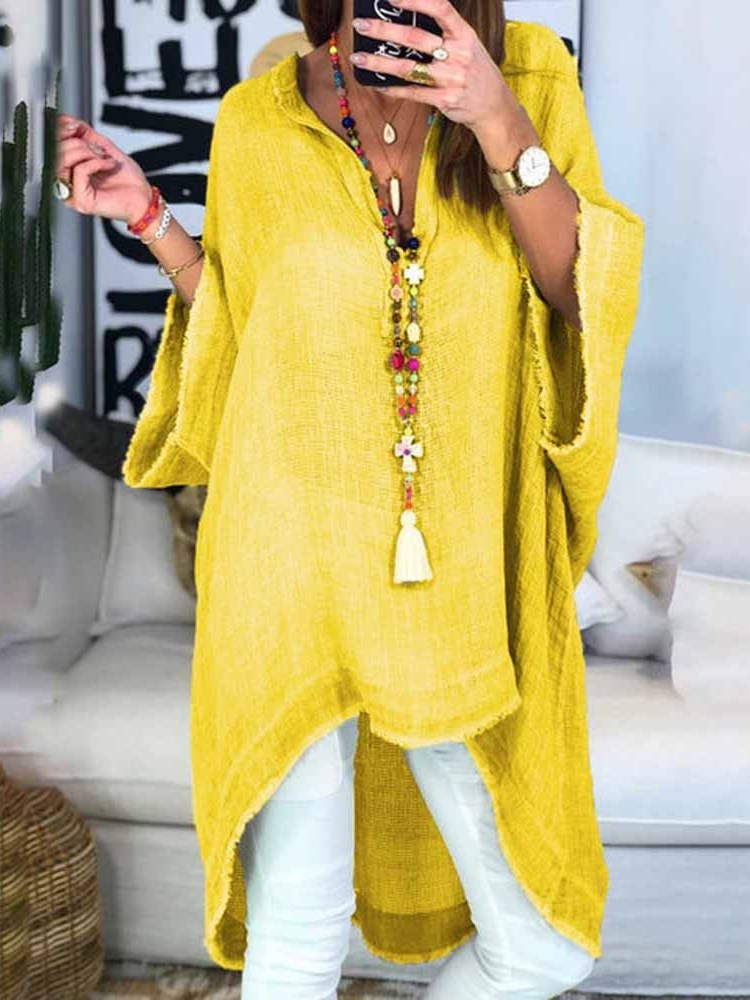 V-Neck Asymmetric Regular Three-Quarter Sleeve Mid-Length Blouse