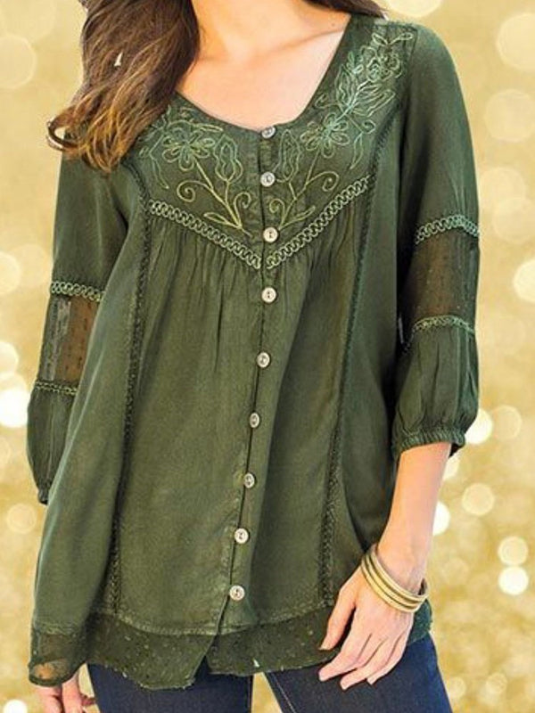 Embroidery Floral Mid-Length Three-Quarter Sleeve Blouse