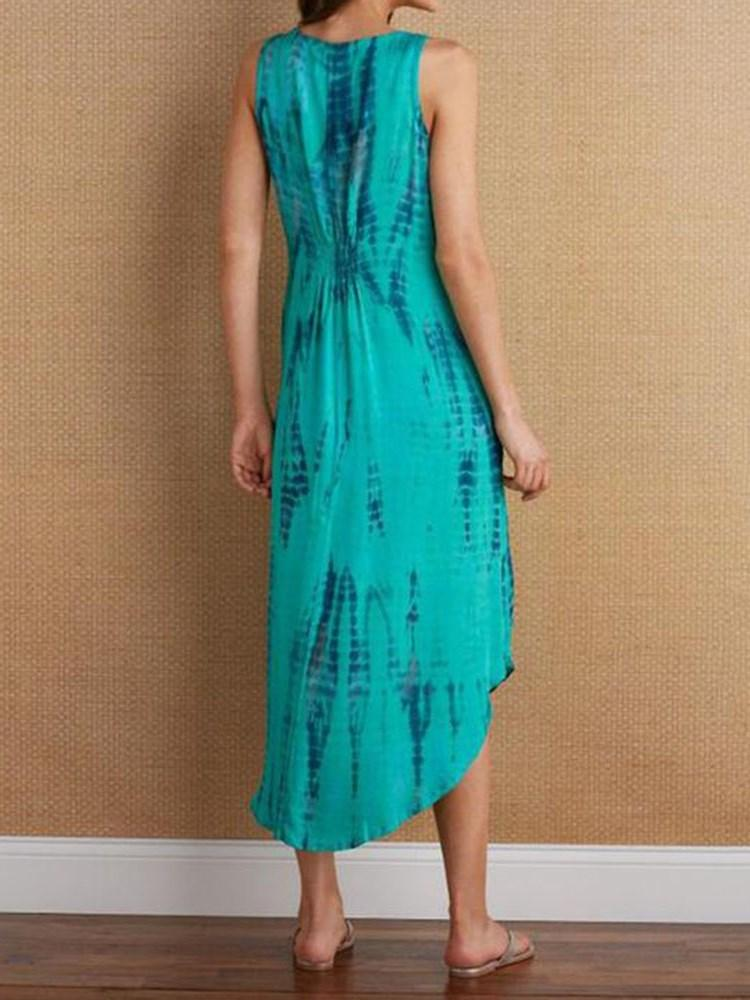 Mid-Calf Sleeveless Print Casual A-Line Dress