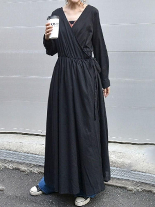 Ankle-Length Long Sleeve Lace-Up High Waist Pullover Dress