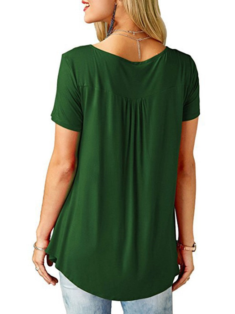 Short Sleeve Mid-Length Plain Casual Straight T-Shirt