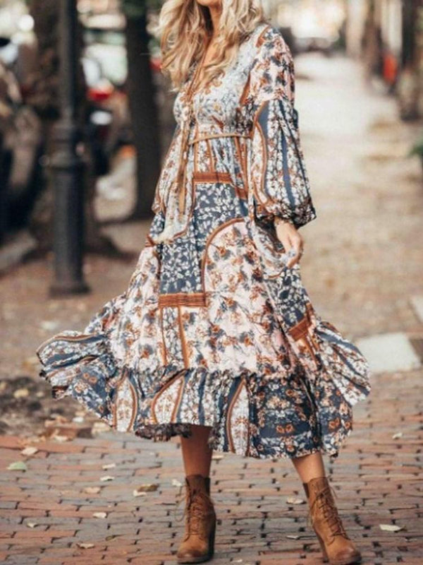 Mid-Calf Long Sleeve Print Lantern Sleeve A-Line Dress
