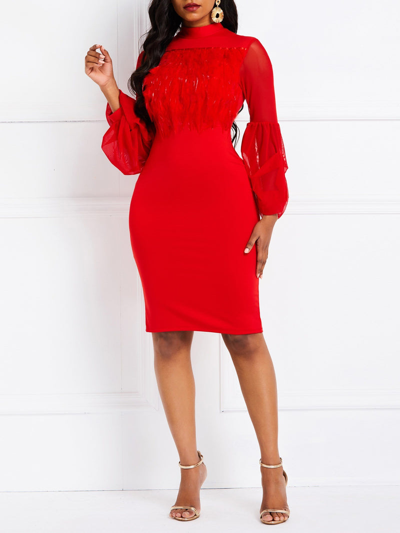 Knee-Length Patchwork Long Sleeve Bodycon Fall Dress