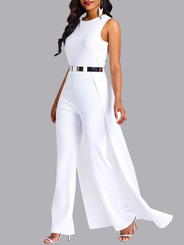 Full Length Plain Patchwork High Waist Slim Jumpsuit
