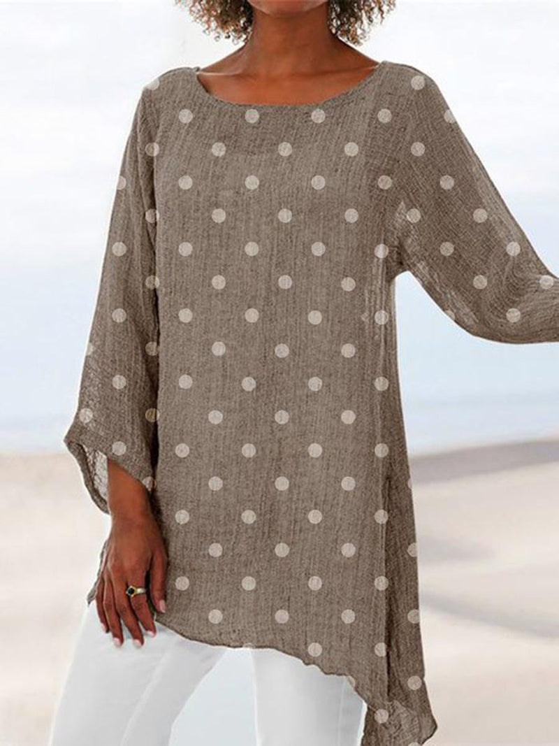 Round Neck Polka Dots Print Mid-Length Nine Points Sleeve Blouse