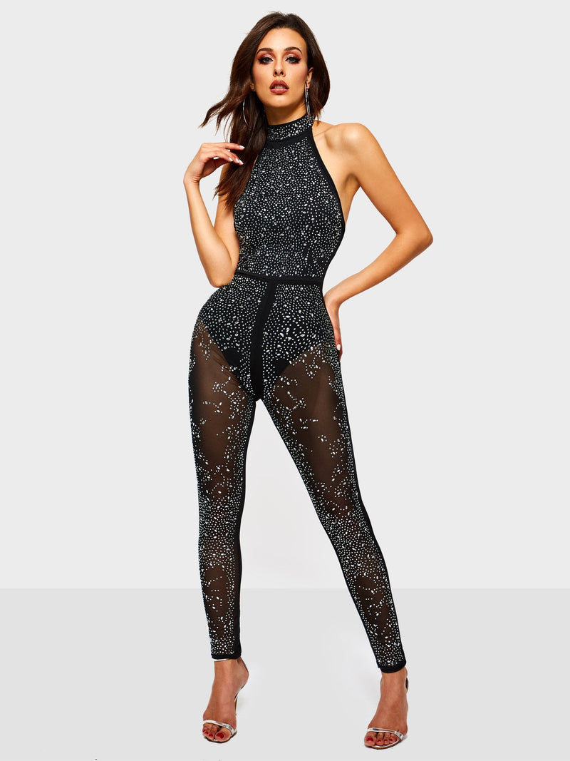 Sequins Plain Full Length Slim High Waist Jumpsuit