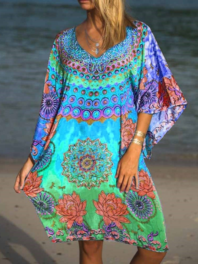 Three-Quarter Sleeve V-Neck Print Summer Pullover Dress