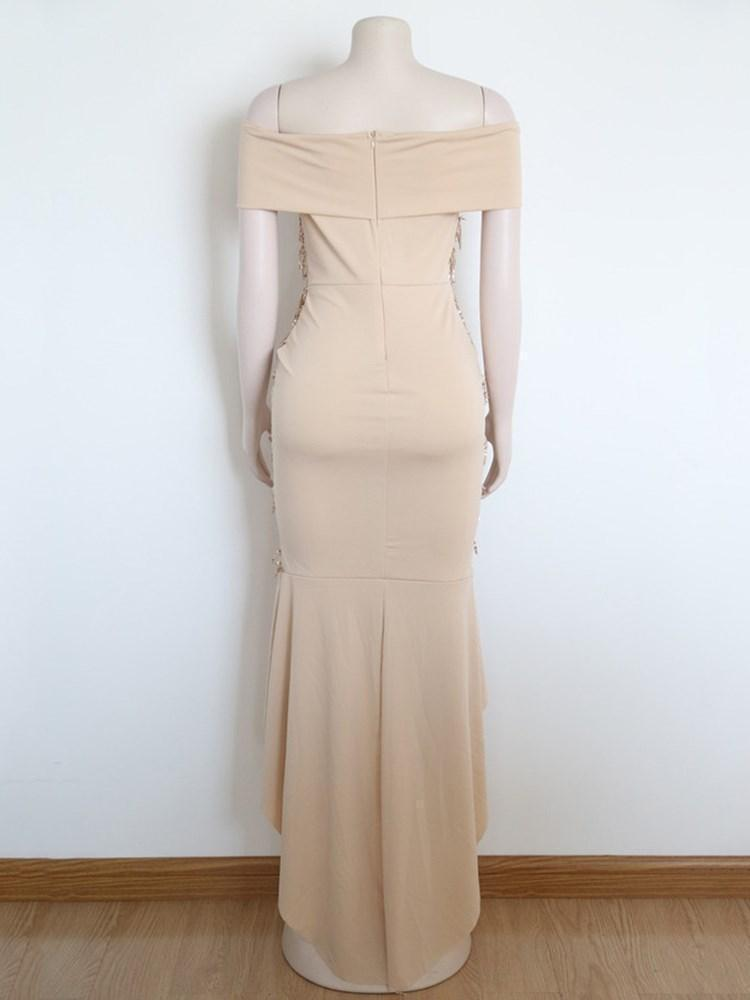 Asymmetric Floor-Length Short Sleeve Asymmetrical High Waist Dress