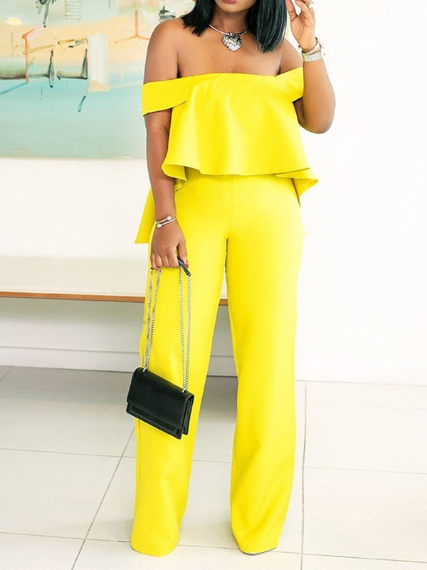Full Length Plain Falbala Wide Legs Slim Jumpsuit