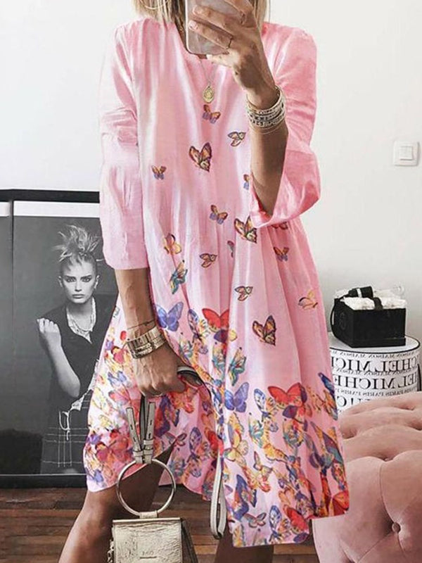 Print Three-Quarter Sleeve Mid-Calf Animal Pullover Dress