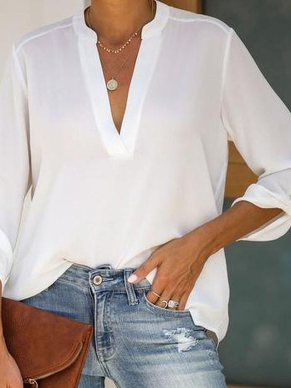 Plain V-Neck Three-Quarter Sleeve Mid-Length Blouse