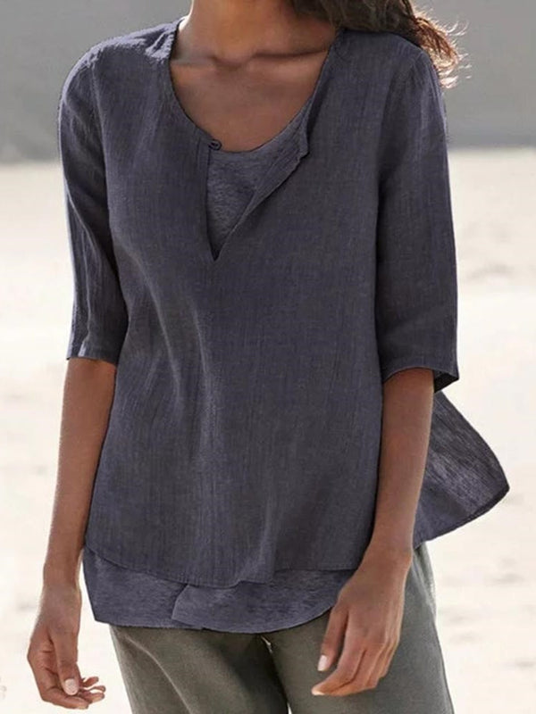 Color Block Standard Half Sleeve Summer Loose T-Shirt