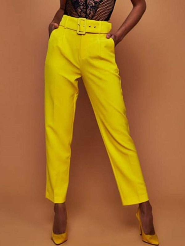 Slim Belt Plain Straight Full Length Casual Pants