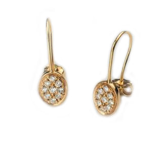 Item No E055 Oval Diamond Hook Earrings