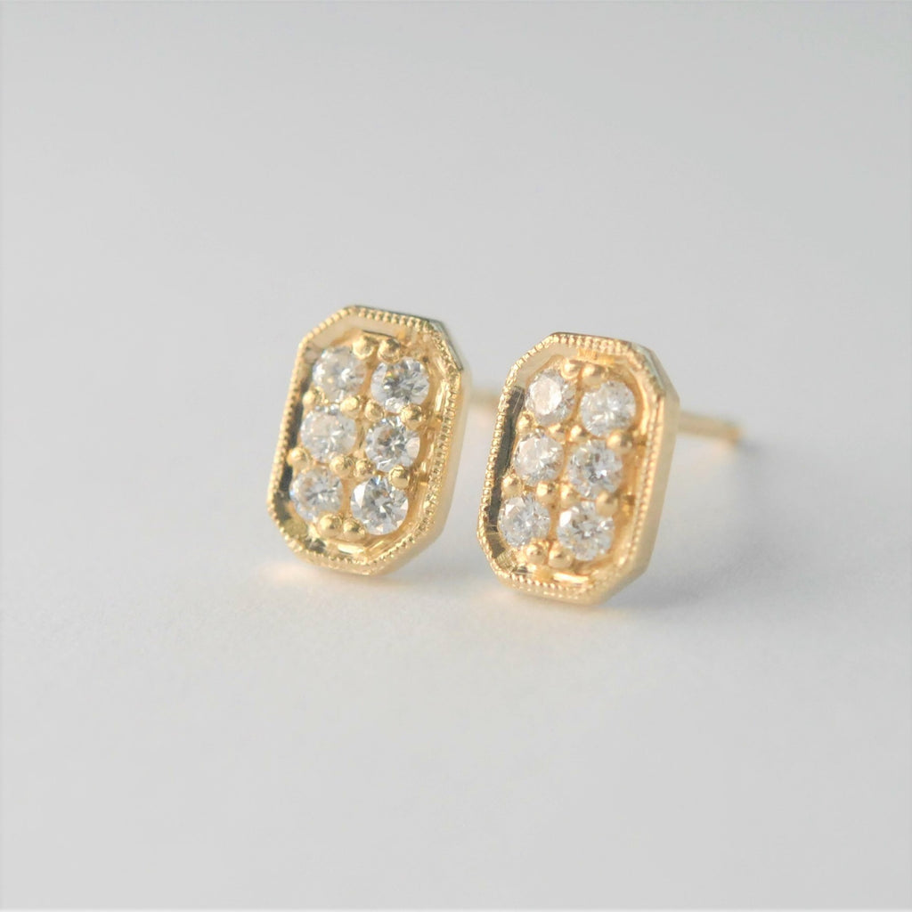 Rectangle Diamond Stud Earrings