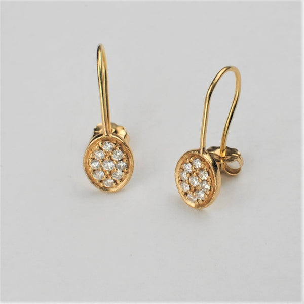 Oval Diamond Hook Earrings
