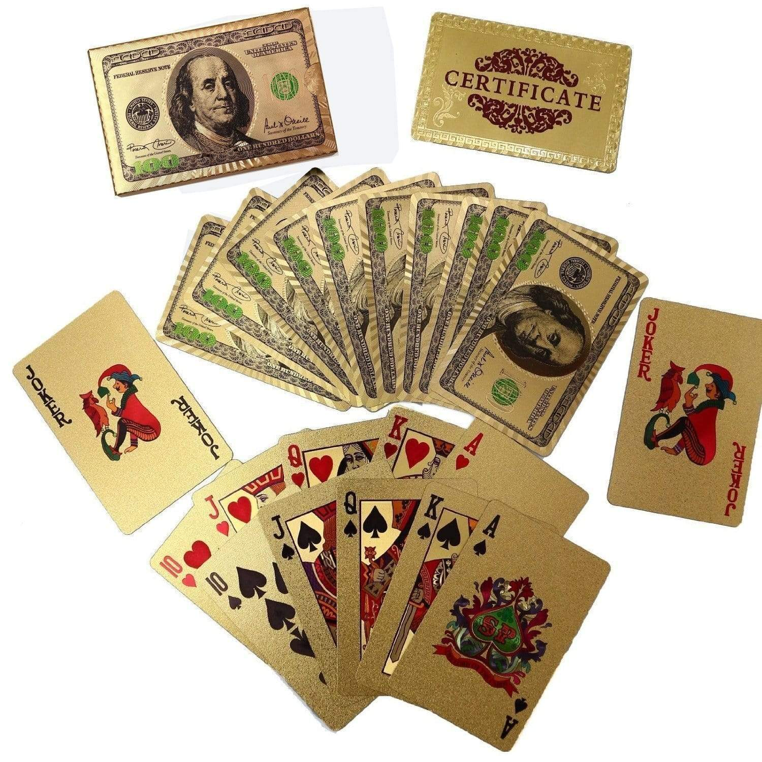 24k Gold Foil Playing Poker