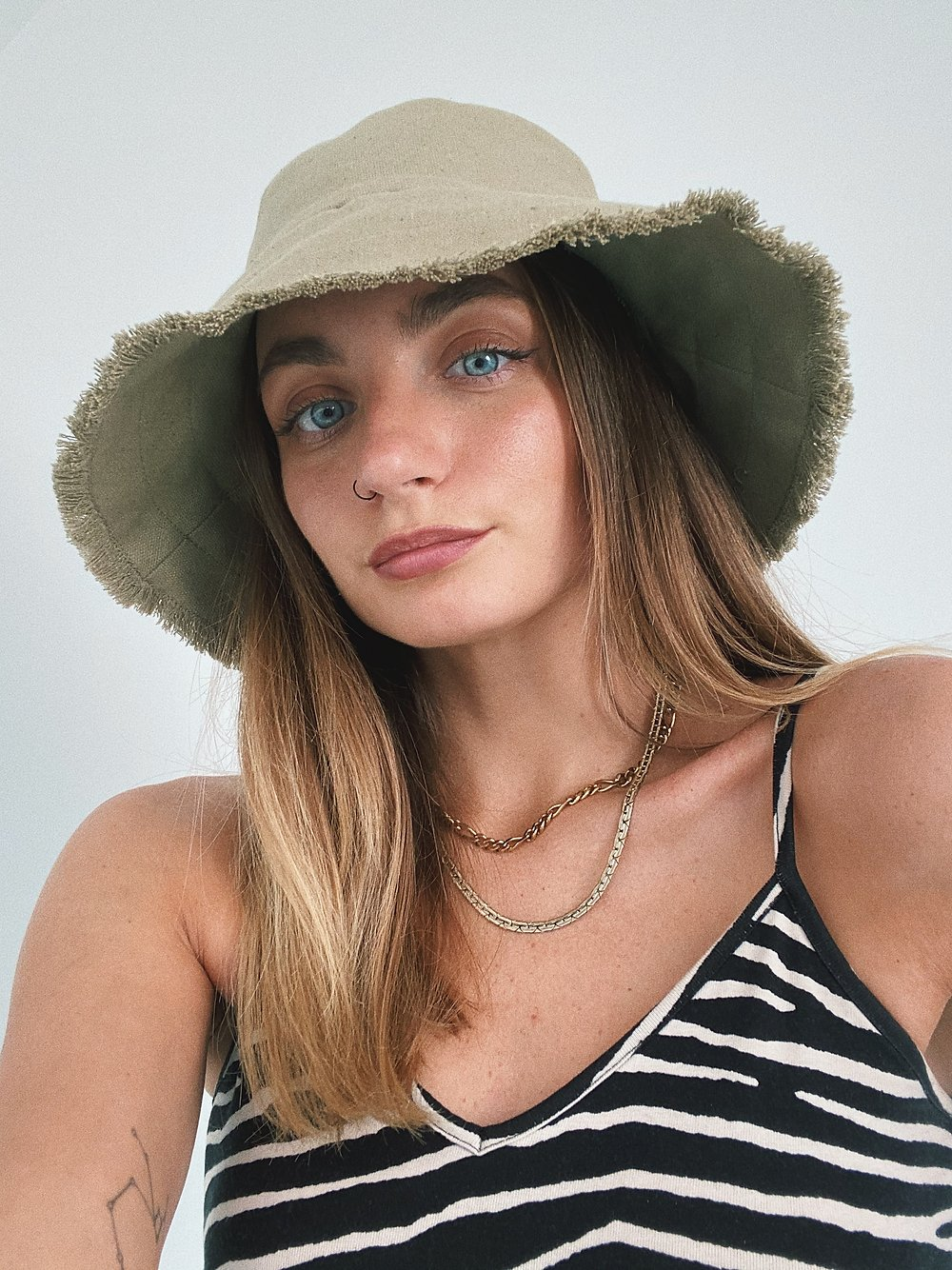 Khaki Frayed Bucket Hat