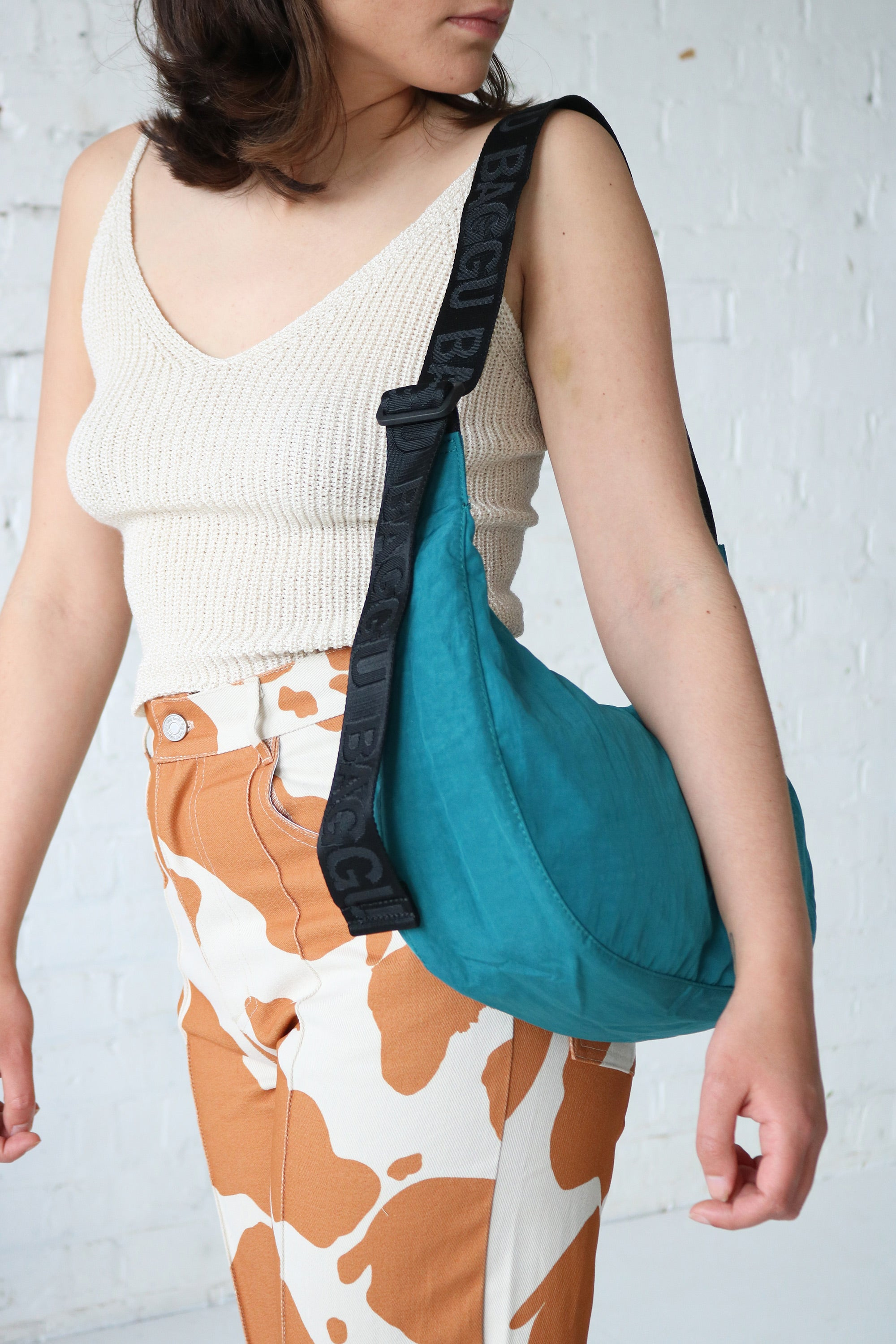 Medium Nylon Crescent Bag in Malachite