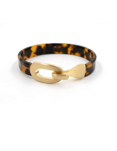 Nordic Muse Gold Tortoise Resin Bangle