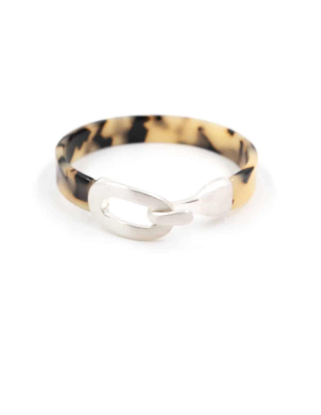 Nordic Muse Silver Tortoise Resin Bangle