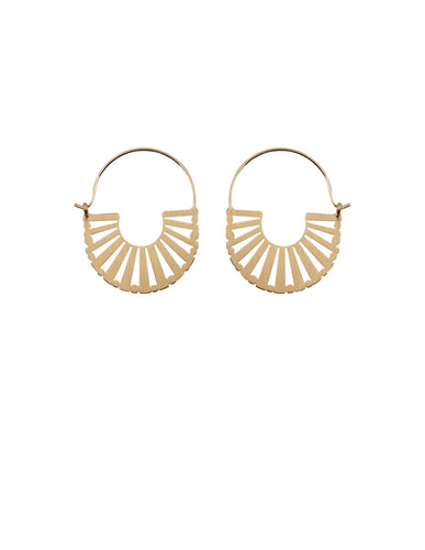 Nordic Muse Gold Brushed Metal Art Deco Earrings