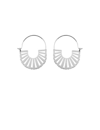 Nordic Muse Silver Brushed Metal Art Deco Earrings