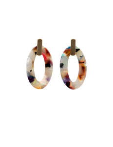 Nordic Muse Multi-Colour Oval Resin & Brushed Metal Earrings