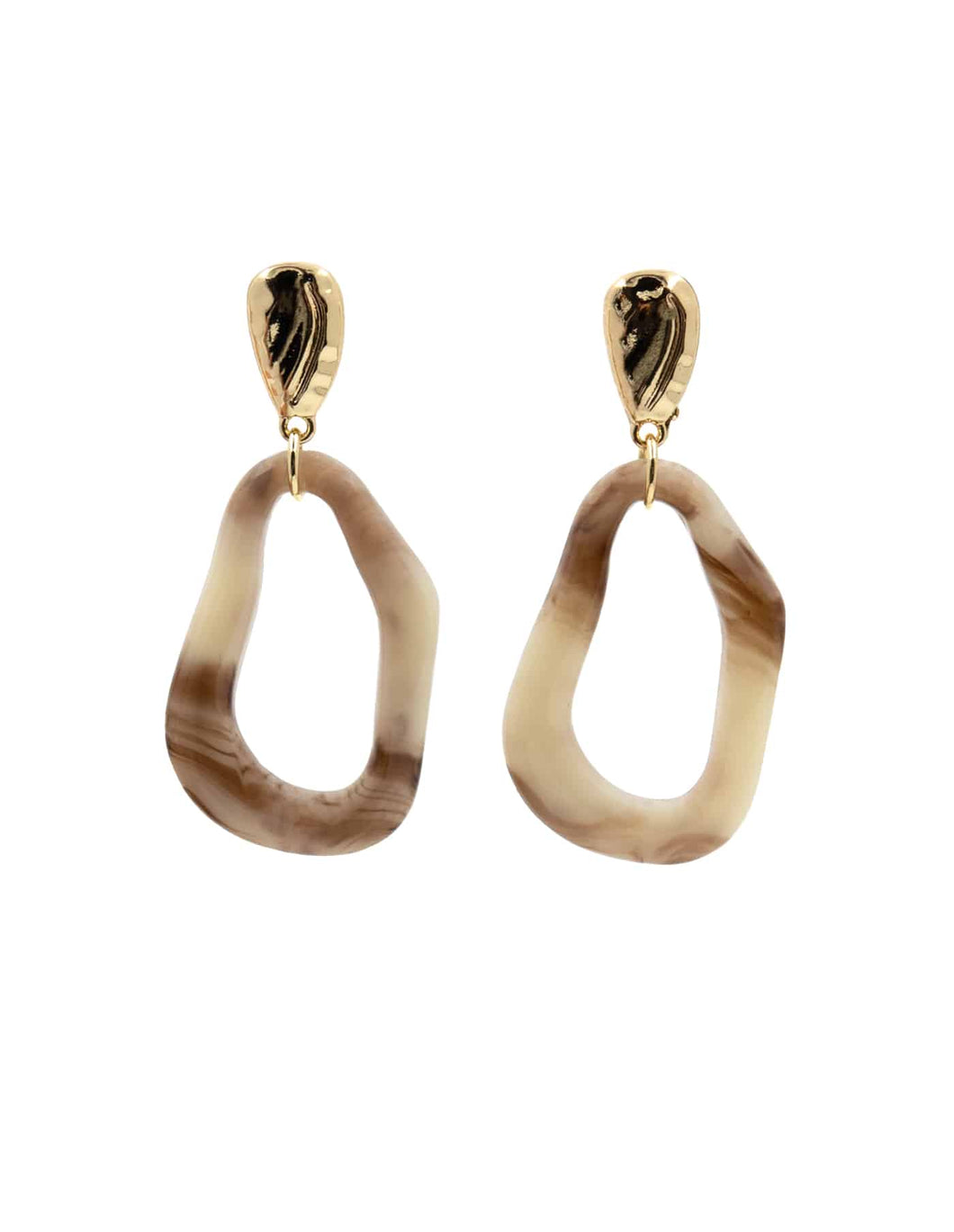 Nordic Muse Nude Resin Fluid Drop Earrings