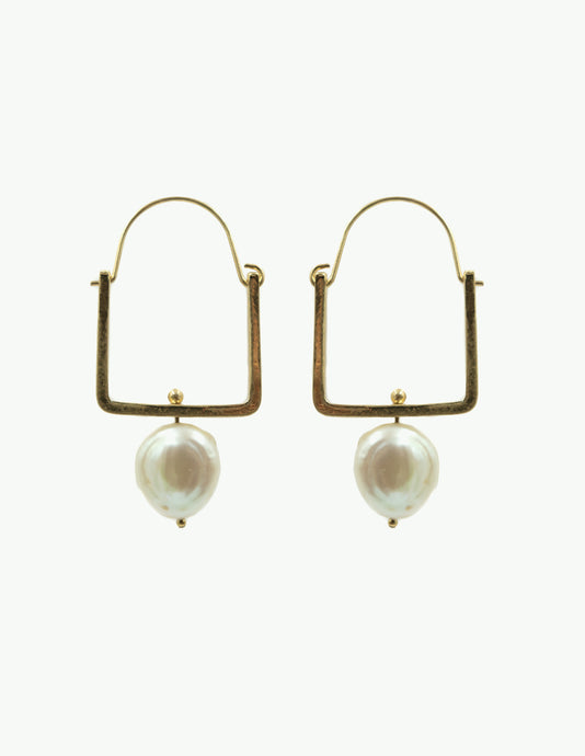 Square Hoop Earring with Pearl, Gold