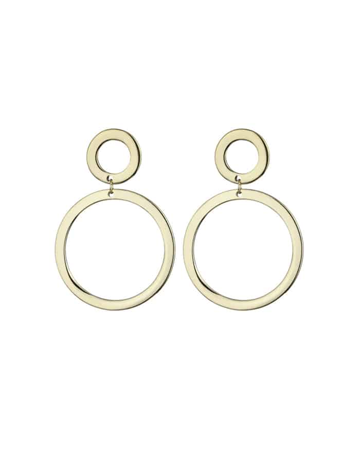 Nordic Muse Gold Circle Drop Earrings