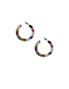 Nordic Muse Multi-Colour Resin Flat Hoop Earrings