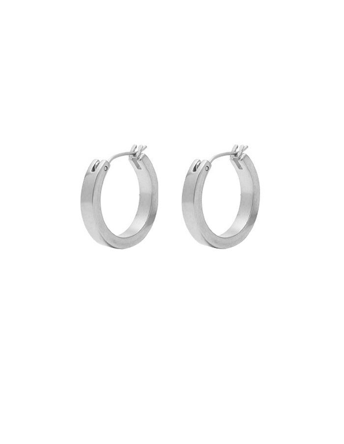 Nordic Muse Matte Silver Hoop Earrings, Small