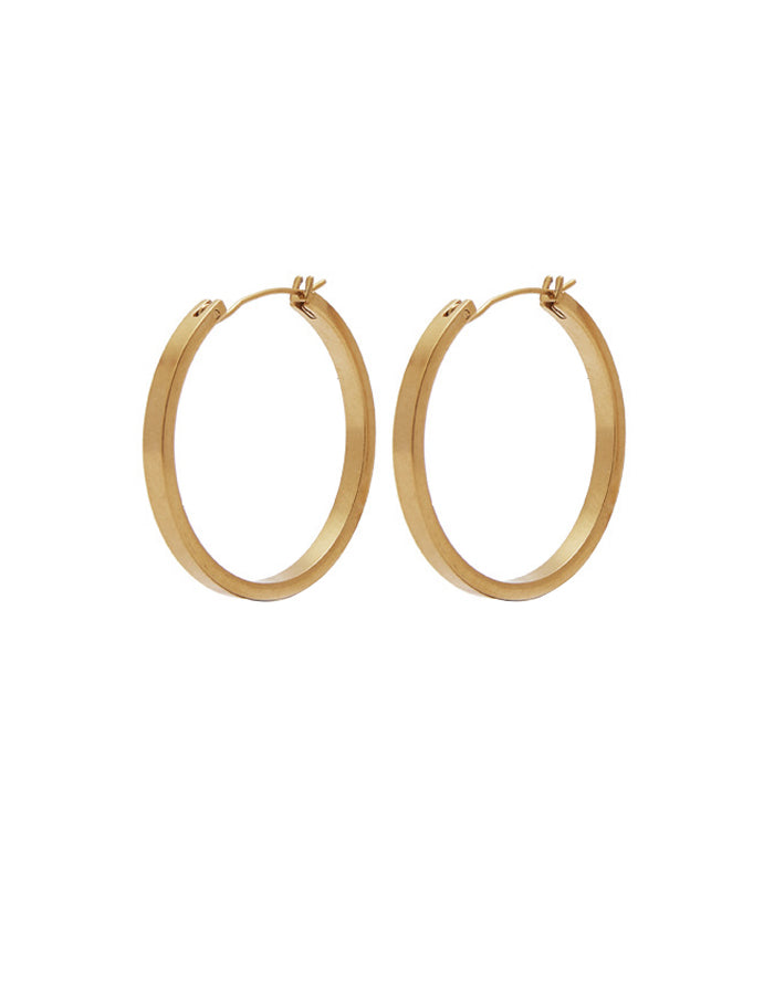 Nordic Muse Matte Gold Hoop Earrings, Medium
