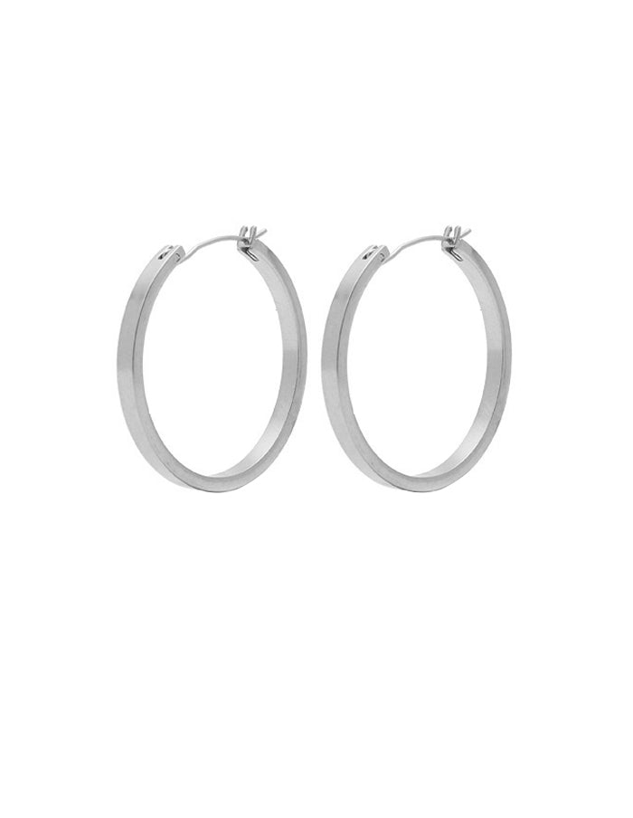 Nordic Muse Matte Silver Hoop Earrings, Medium