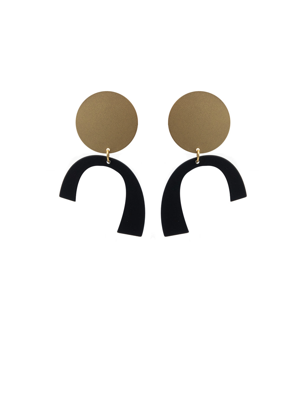 Nordic Muse Matte Gold Abstract Earrings, Black