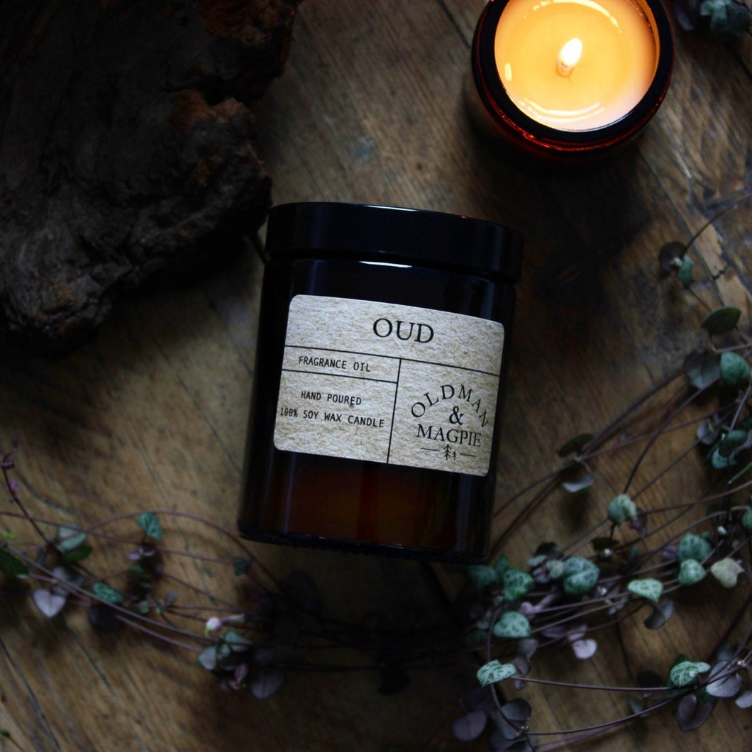 Old Man & Magpie 100% Natural Soy Wax Candle in Oud