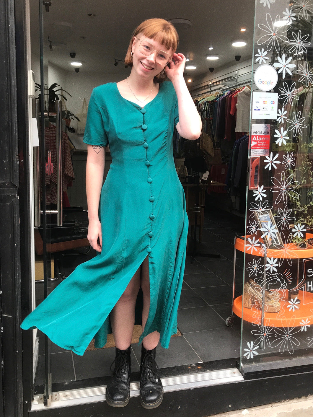 Vintage Button Down Silk Dress in Teal
