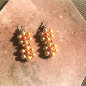 Blóma! X The Norah Store // Double Daisy Earrings in Cream and Rust