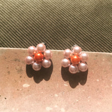 Load image into Gallery viewer, Blóma! X The Norah Store // Single Daisy Earrings in Pink and Rust
